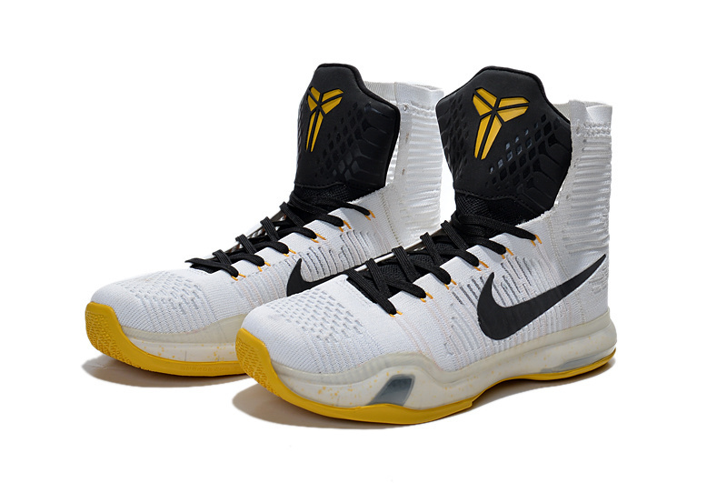 New Nike Kobe 10 Elite High White Black Yellow Sneaker For Sale