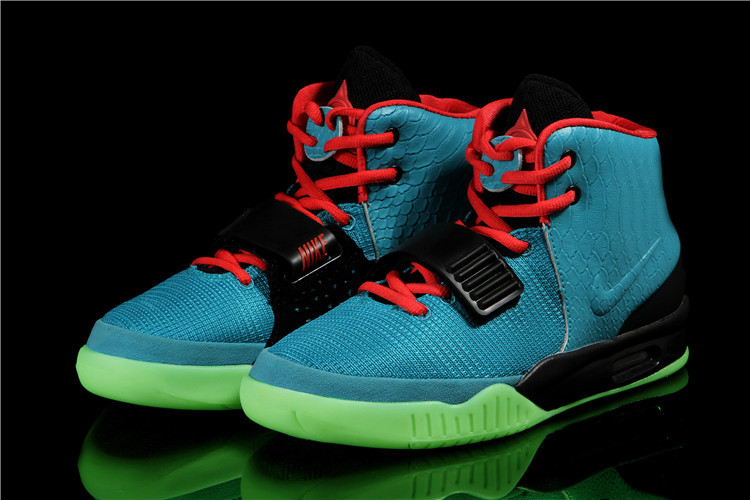 2014 Nike Air Yeezy 2 South Original Beach Blue Red Black