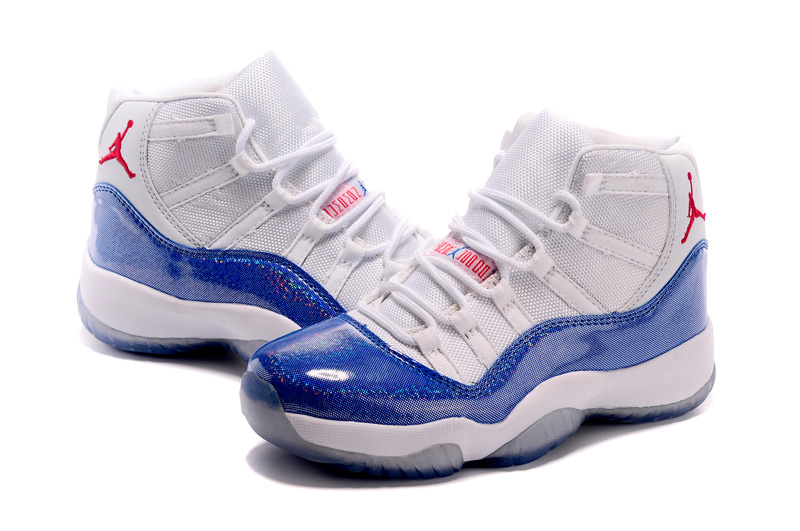 Nike Women Air Jordan 11 White Blue Shoes