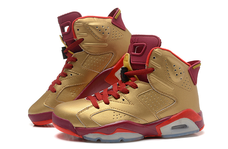 Air Jordan 6 Retro Gold Red Basketball Shoes