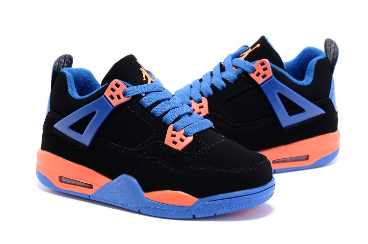 Nike Air Jordan 4 Retro Black Blue Orange Basketball Shoes