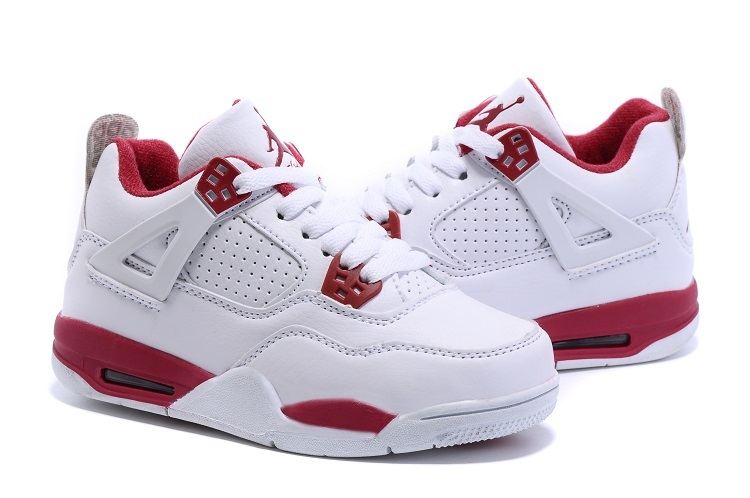 Nike Air Jordan 4 Retro White Red Shoes For Kids