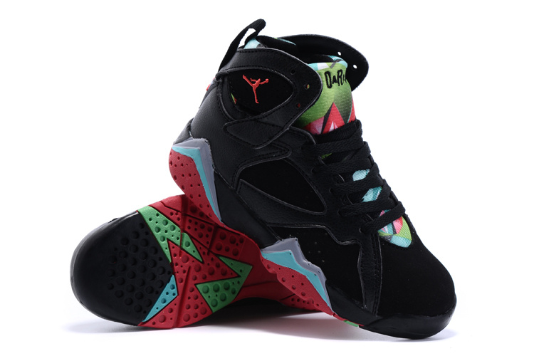 Nike Air Jordan 7 Retro Black Green Red Shoes For Kids