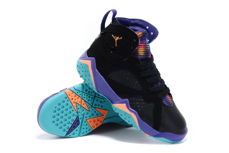 Nike Air Jordan 7 Retro Black Purple Orange Shoes For Kids
