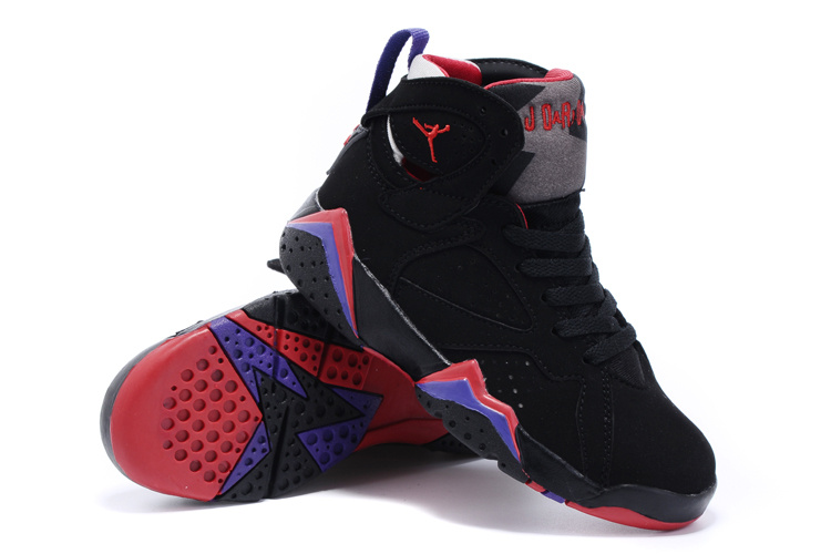 Nike Air Jordan 7 Retro Black Purple Red Shoes For Kids