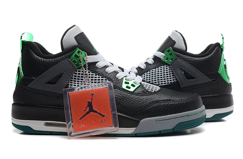 Nike Air Jordan 4 Black Green Basketball Shoes
