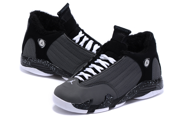 Nike Air Jordan 14 Wool Black Grey Basketball Shoes