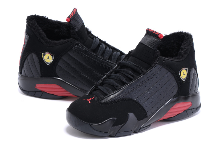 Nike Air Jordan 14 Wool Black Red Basketball Shoes