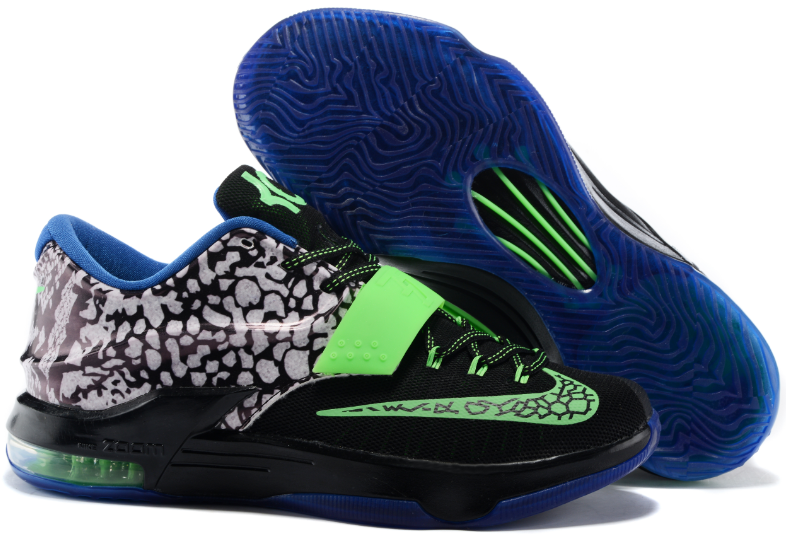 New Nike KD 7 Black Grass Green Blue Shoes