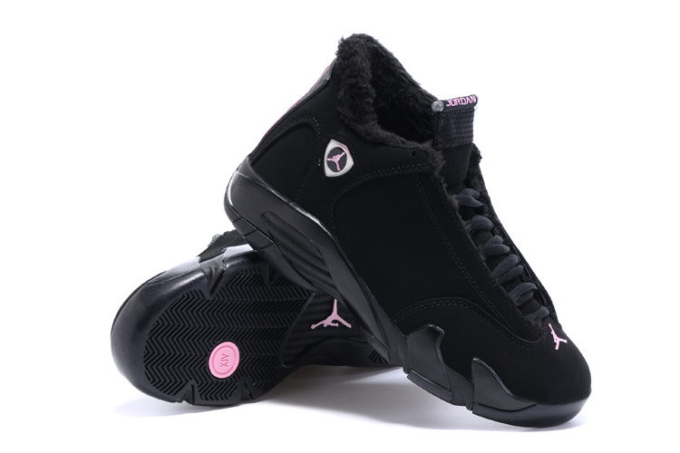 Nike =Air Jordan 14 Wool All Black Women Size