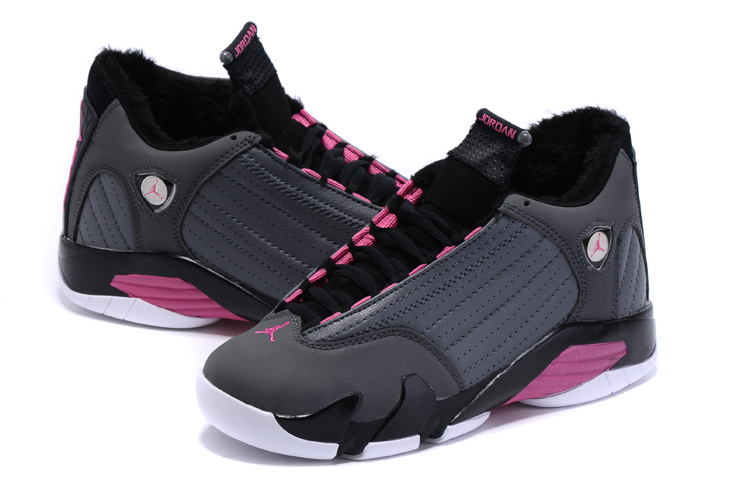 Nike Women Air Jordan 14 Wool Grey Black Pink Sneaker