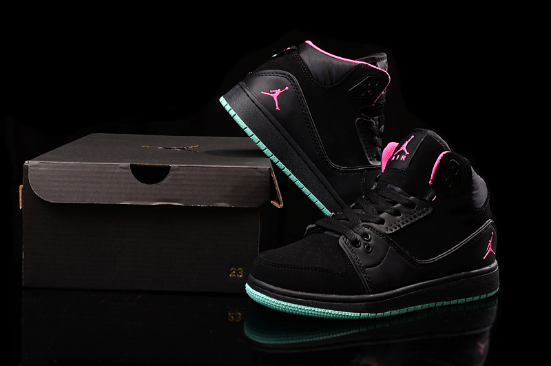 Nike Women Air Jordan 1 Flight 2 Black Pink Green Sneaker