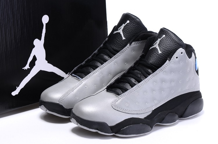 2016 Nike Air Jordan 13 Retro Charity Grey Black Basketball Shoes