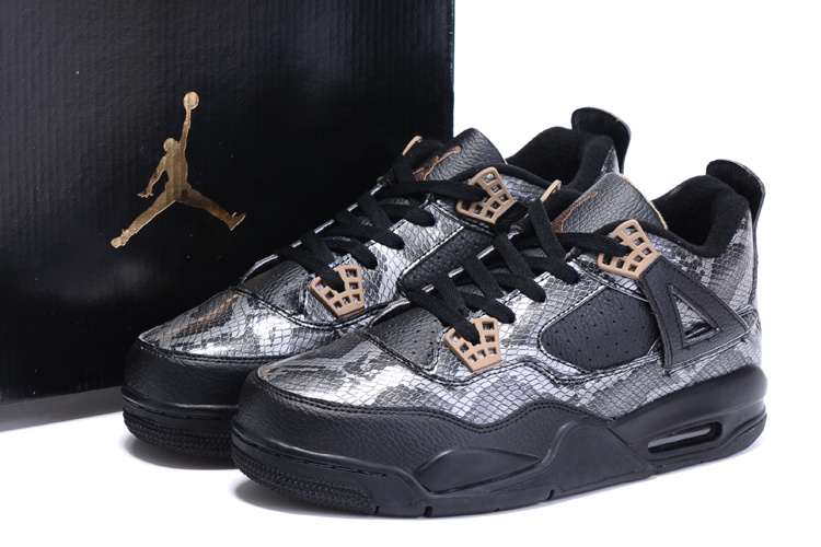 2016 Nike Air Jordan 4 SnakeSkin Black Basketball Shoes