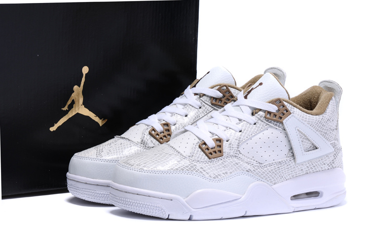2016 Nike Air Jordan 4 Retro SnakeSkin White Yellow Shoes