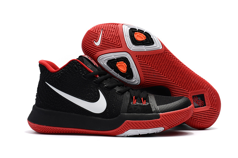 2017 Latest Nike Kyrie 3 Black Red White Swoosh Shoes