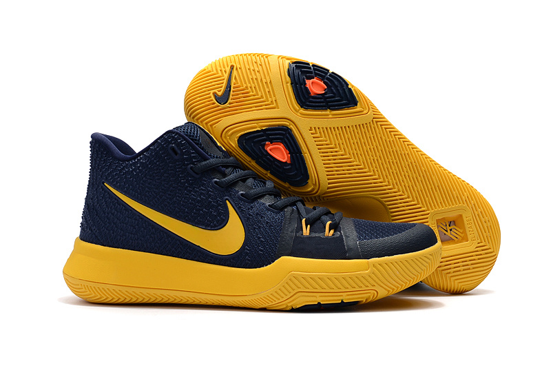 2017 Latest Nike Kyrie 3 Dark Blue Yellow Shoes