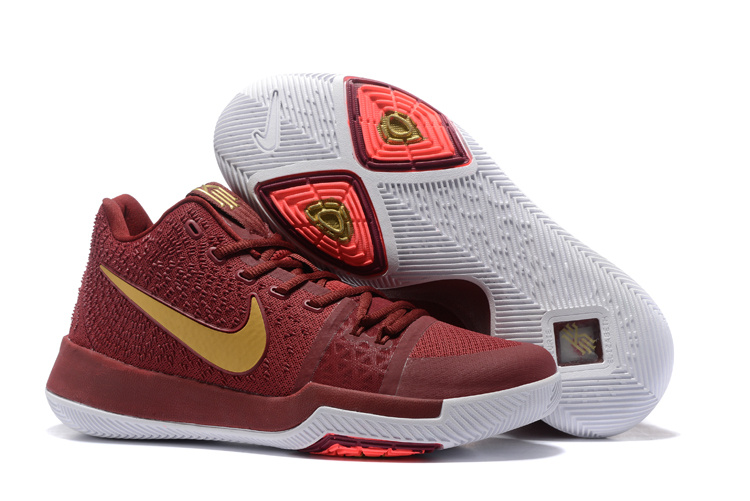 2017 Latest Nike Kyrie 3 Dark Red Shoes