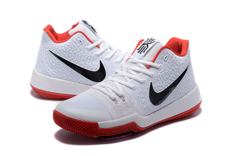 2017 Latest Nike Kyrie 3 White Red Black Swoosh Shoes