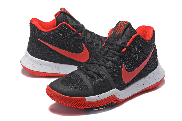 2017 Nike Kyrie 3 Black Red Baksebtall Shoes