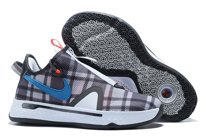 Nike PG 4 Plaid Grey Blue Light Smoke Grey Shoes