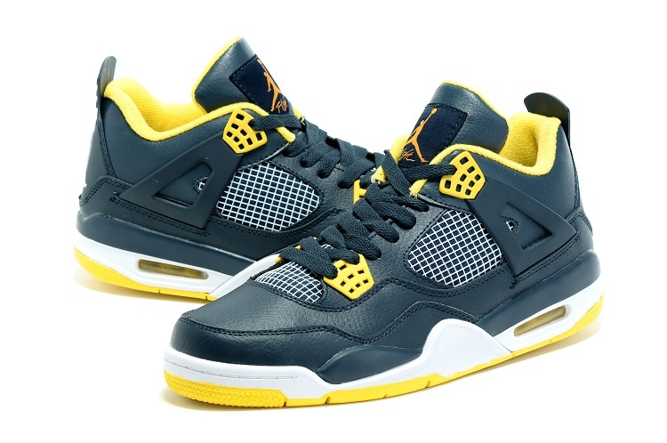 Nike Air Jordan 4 Dark Blue Yellow Sneaker