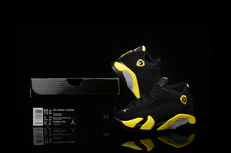 Nike Kids Air Jordan 14 Black Yellow Sneaker