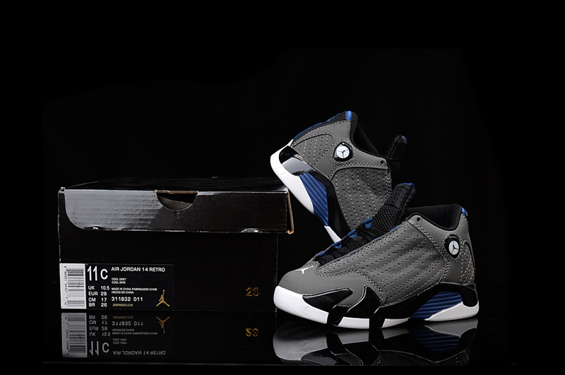 Nike Kids Air Jordan 14 Grey Black Blue For Sale