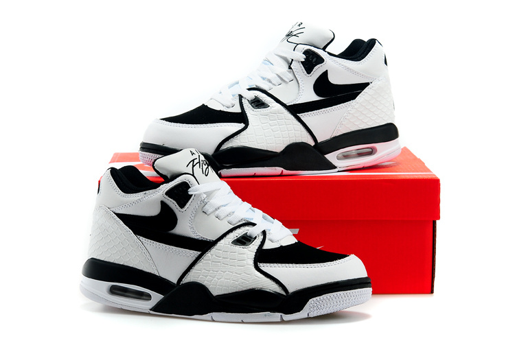 Classic Nike Air Flight 89 Original White Black Lovers Shoes