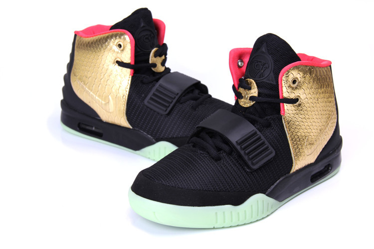 Classic Nike Air Yeezy 2 Original Black Gold Shoes