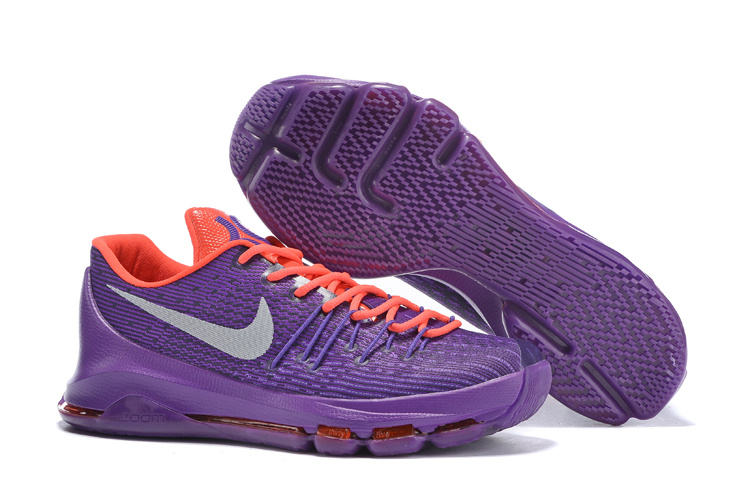 Factory Outlet Nike KD 8 Electric Purple Wolf Grey Bright Cirmson Shoes On sale