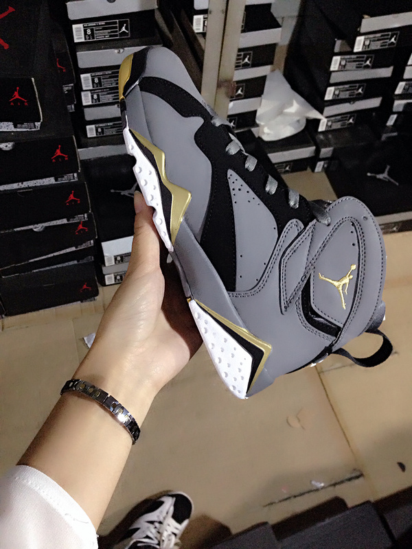 Grey Gold Nike Air Jordan 7 Women Shoes For Sale
