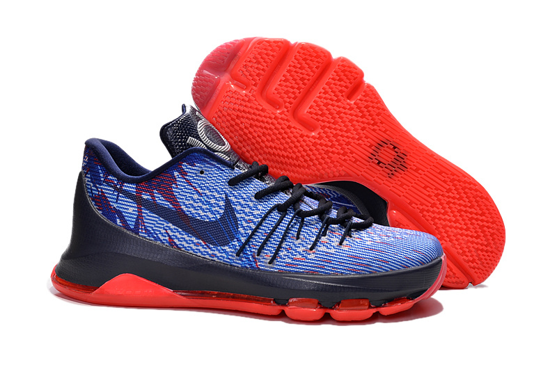 New Cheap Shoes Nike KD 8 USA Soar Midnight Navy Bright Crimson White Shoes On Sale