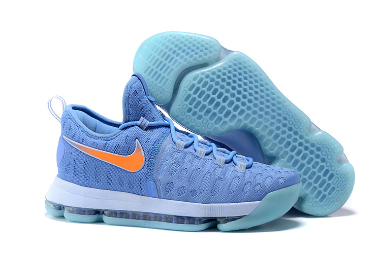 New Nike KD 9 Sky Blue Orange Air Cushion Basketball Shoes