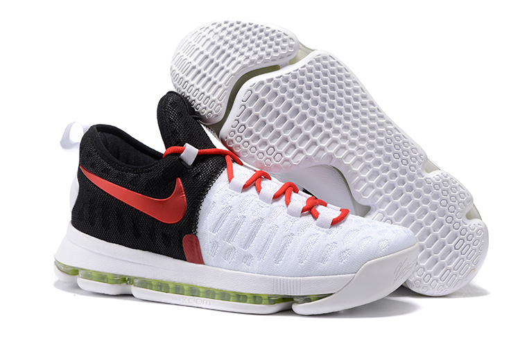 New Nike KD 9 White Black Red AIr Cushion Basketball Shoes