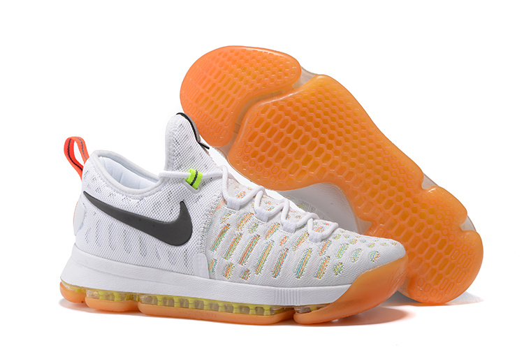 New Nike KD 9 White Colorful Air Cushion Basketball Shoes