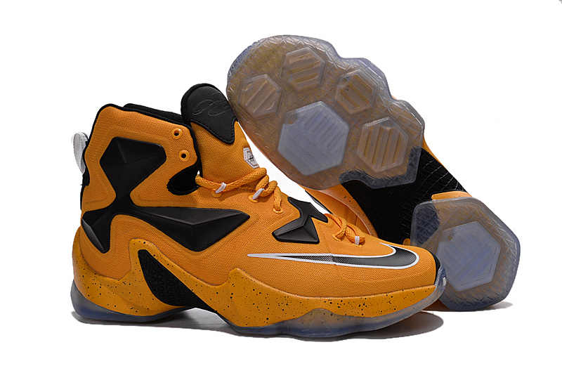 New Nike Lebron 13 Dark Yellow Black White Shoes On Sale Shoes On Sale
