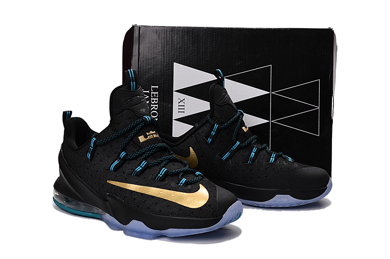 New Nike Lebron James 13 Low Black Gold Shoes