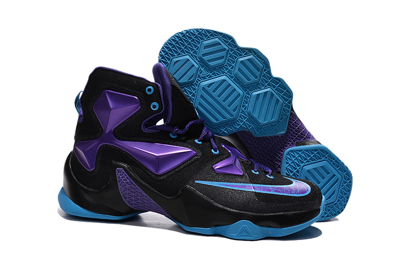 New Nike Lebron New Style Shoes Lebron 13 Black Electric Purple Univeristy Blue Shoes