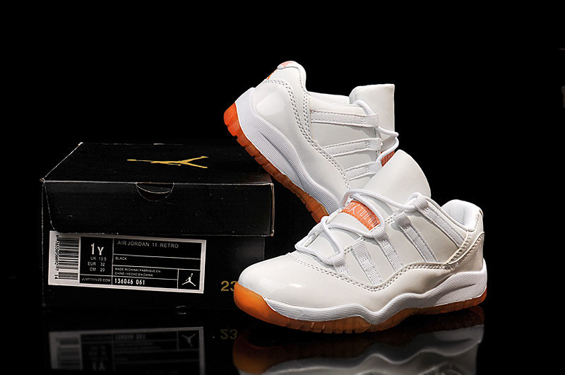 Nike Kids Air Jordan 11 Low Cirtus White Orange Shoes On Sale