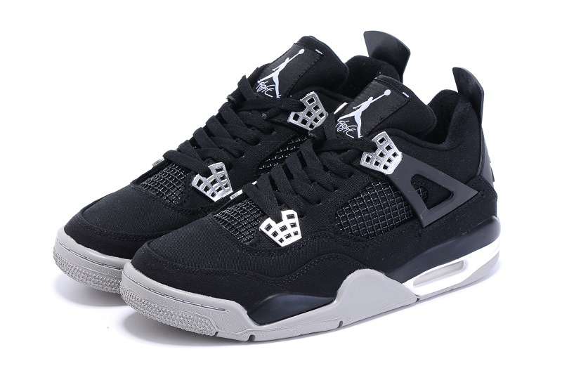 Nike Air Jordan 4 Canvas Black Grey Basketball Shoes