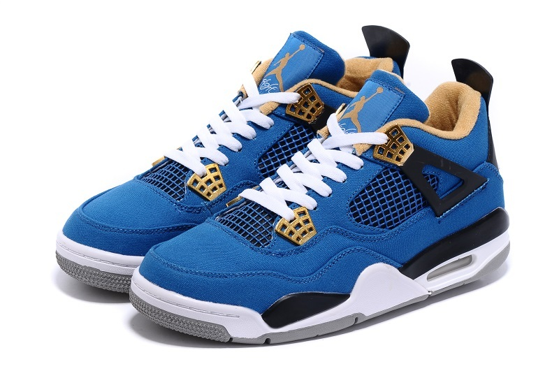 Nike Air Jordan 4 Canvas Blue Black White Sneaker