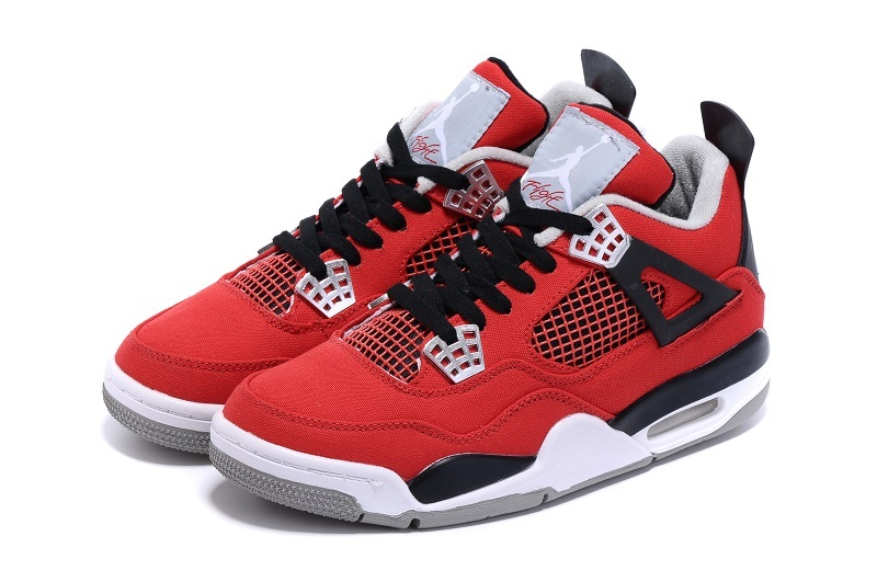 Nike Air Jordan 4 Canvas Red Black White Basketball Shoes
