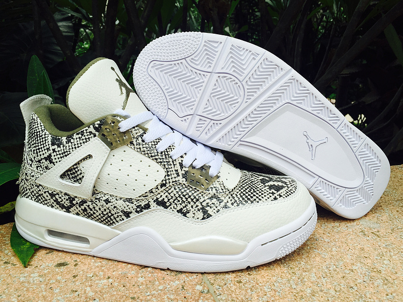 Nike Air Jordan 4 Fantastoc SnakeSkin White Green Lover Basketball Shoes