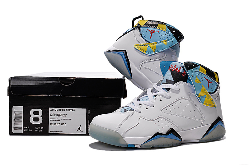 Nike Women Air Jordan 7 White Baby Blue Yellow For Sale