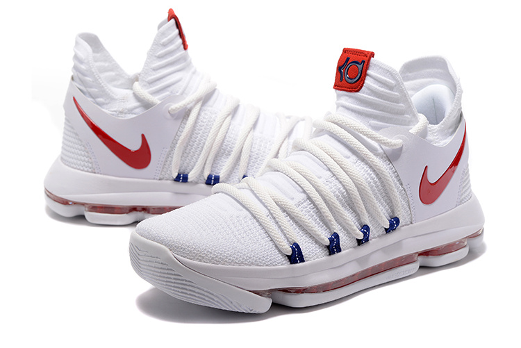 New Nike KD 10 White Red Basketball Shoes