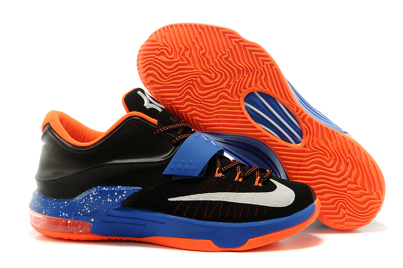 New Nike KD 7 Original Black Blue Orange White Basketball Shoes