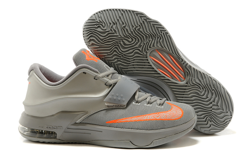 New Nike KD 7 Original Grey Orange Basketball Shoes