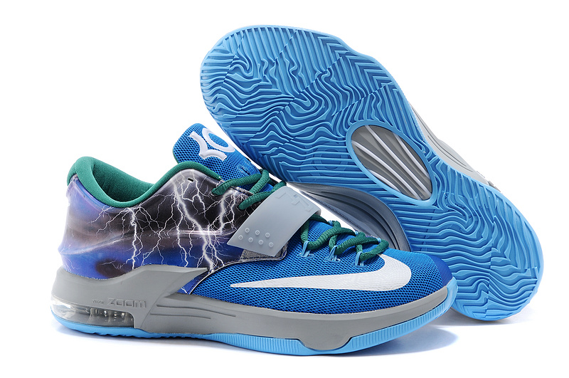 New Nike KD 7 Thunder Blue Grey White Shoes