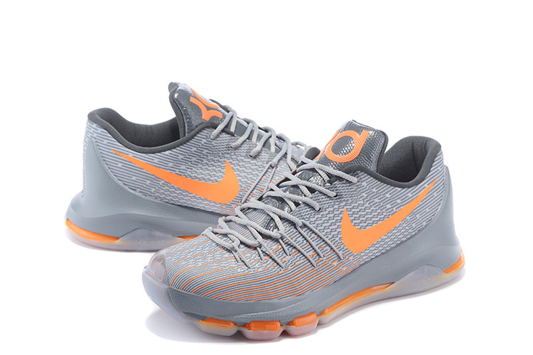2016 Nike KD 8 Grey Orange Sneaker